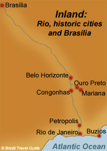 Map of Brazilian historic towns