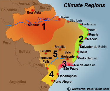 Climate, temperatures, humidity and rain in Brazil