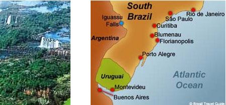 Iguassu Falls waterfalls and South Brazil map