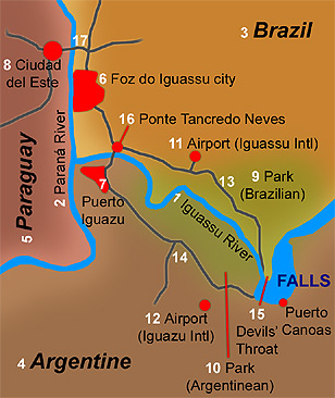 Iguassu Falls map: Brazil, Argentina, Paraguai and other references for its location