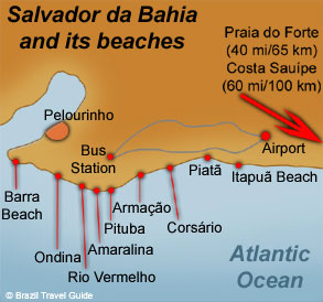 Map of Salvador da Bahia beaches, in Brazil