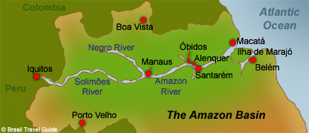 Map Of The Amazon Basin Manaus Region And Its Main Spots - Where is the amazon river