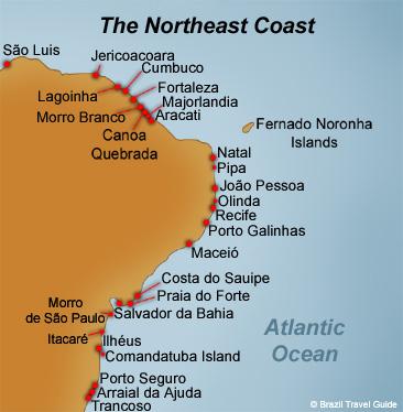 Tropical Brazil beaches map. Above: Brazilian tropical beaches map