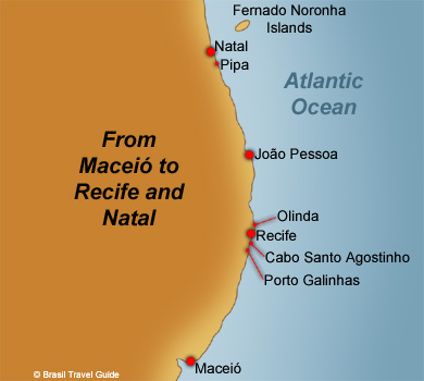 Brazil beaches and cities maps