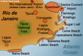 Map of Rio de Janeiro attractions neighborhoods and beaches