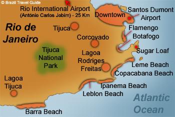 Rio de Janeiro Map with the main travel spots