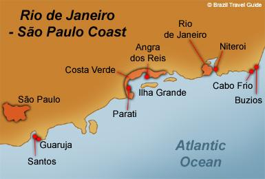 Rio Janeiro Sao Paulo Coast Map