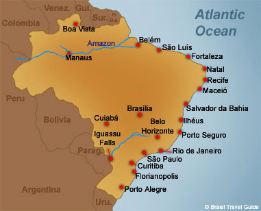 Brazil Seawater Temperatures - Map of brazil with cities