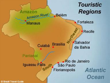 Main regions Brazil Map